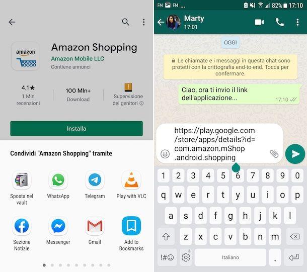 Invio applicazioni WhatsApp su Android