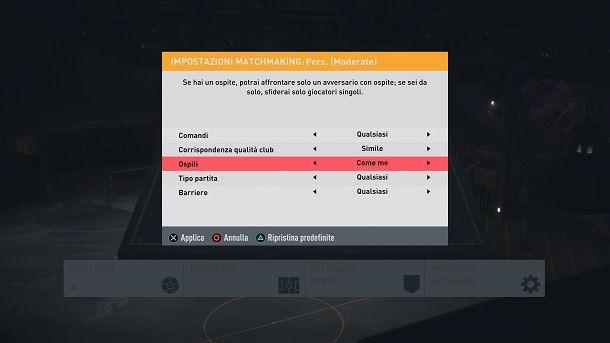 Impostazioni matchmaking FIFA