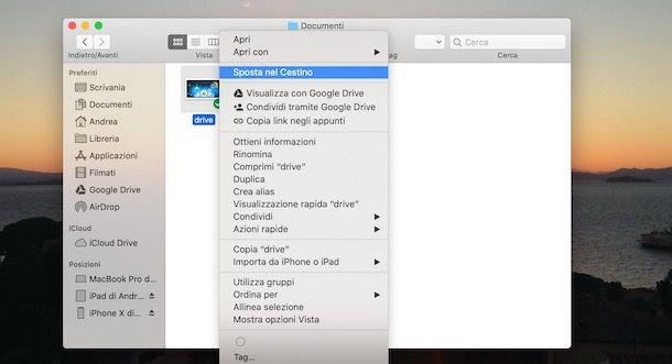 Eliminare file da Google Drive da Mac