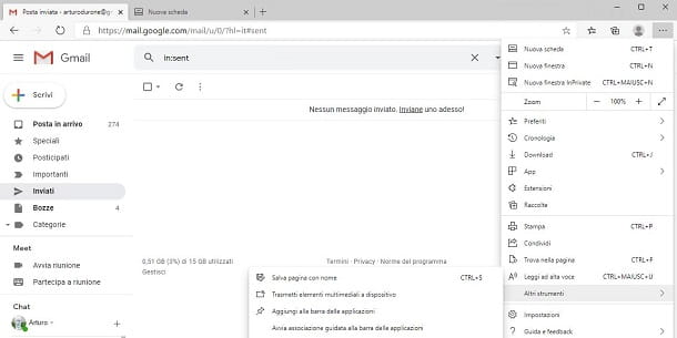 Icona Gmail su desktop con Edge