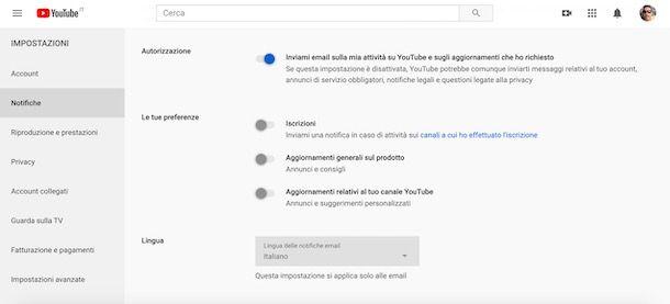 Cambiare lingua notifiche email YouTube