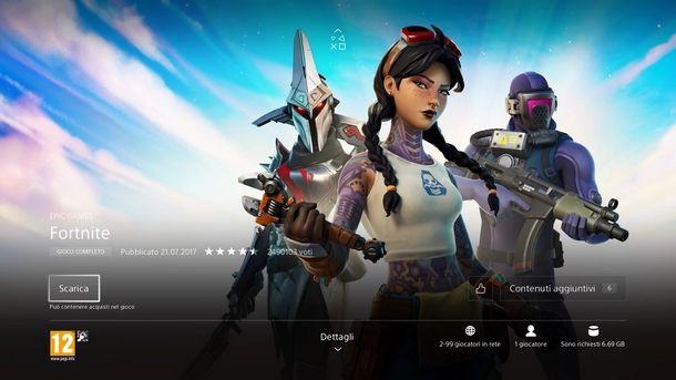 Attendere download e installazione di Fortnite su PS4