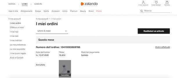 Ordine cancellato su Zalando