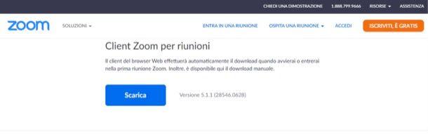 Pagina di download del client di Zoom