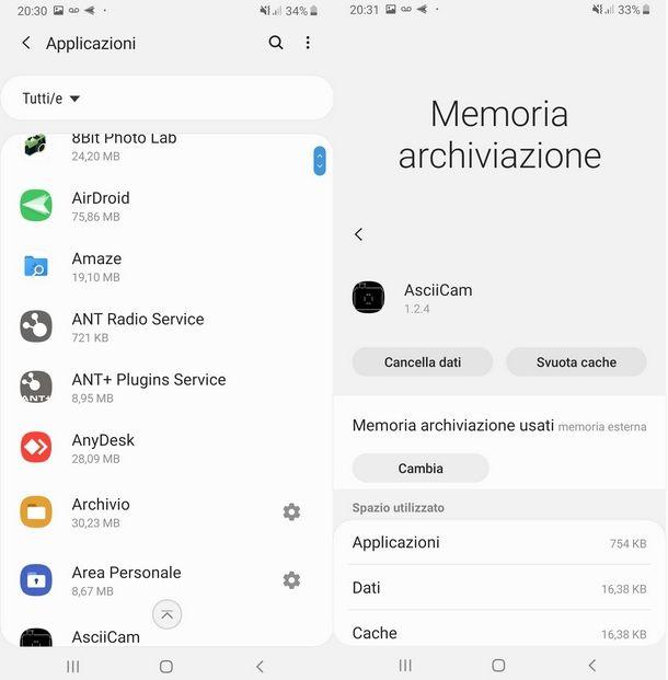 Procedere allo spostamento di app su memoria SD Samsung
