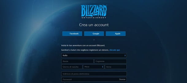Creazione account Battle.net