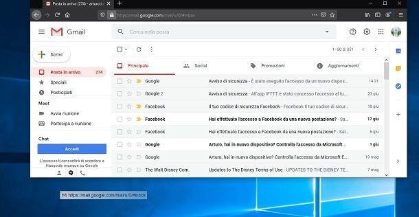 Icona Gmail su desktop con Firefox