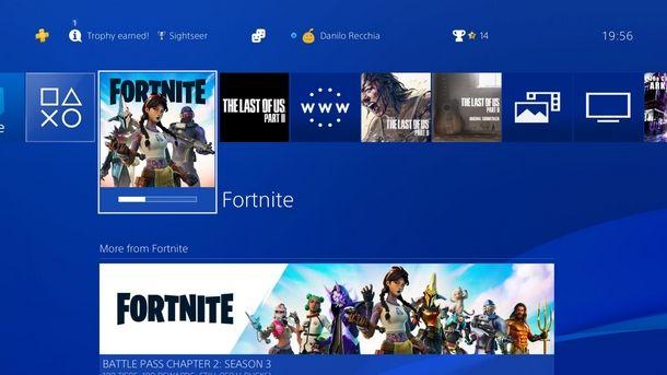 Avviare Fortnite da PS4