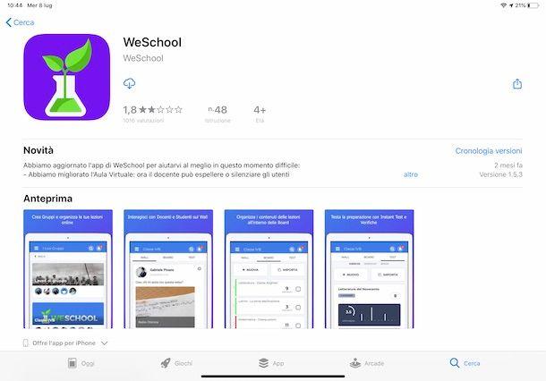 Come scaricare WeSchool su iPad