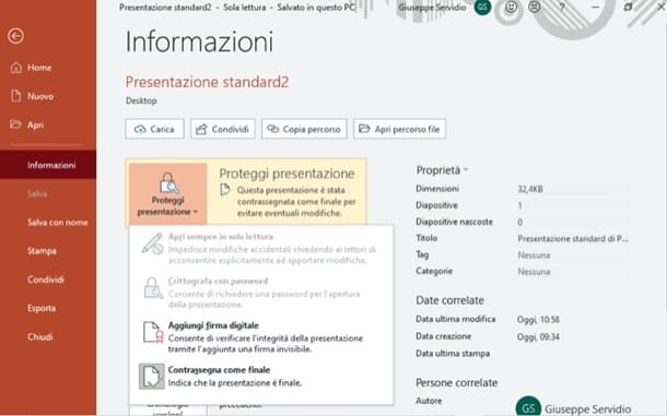 Salvare PowerPoint non modificabile