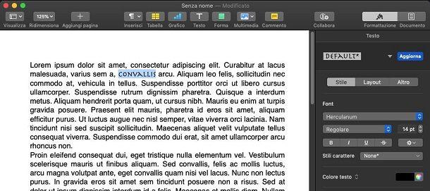 Cambiare font a una parola su macOS