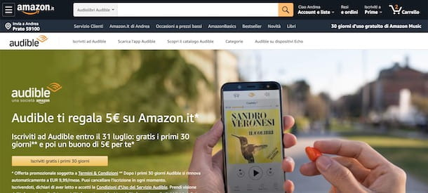 Buono sconto Amazon con Audible