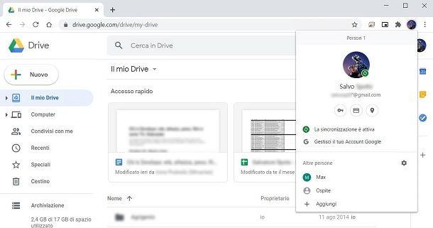 Accesso a Google Drive su Chrome