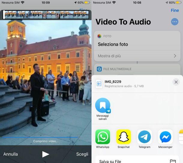 Trasformare video in audio su iPhone