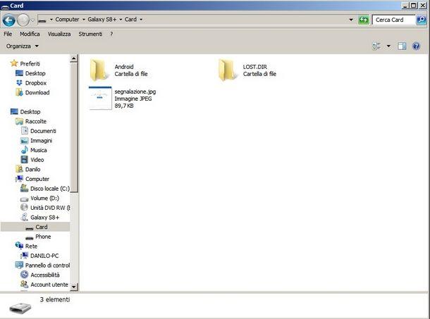 Gestire la memoria interna e la scheda SD del Samsung da PC