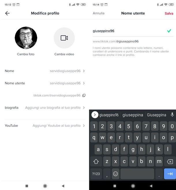 Cambiare nome utente TikTok su Android