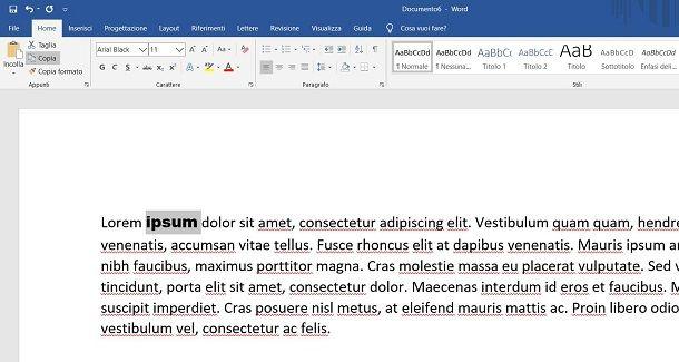 Cambiare font a una parola su Windows