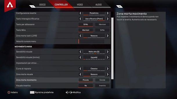 Impostazioni controller Apex Legends PS4
