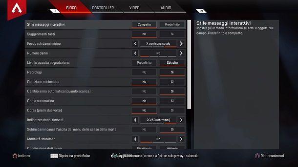 Migliori impostazioni gameplay Apex Legends PS4