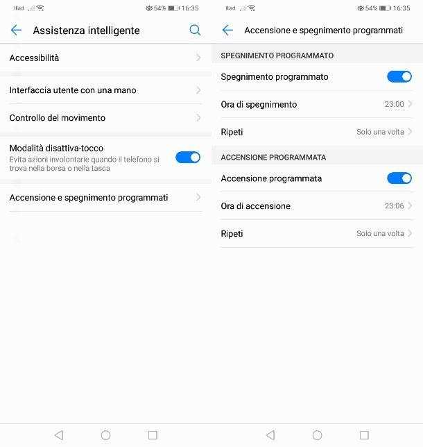 Accensione programmata Android