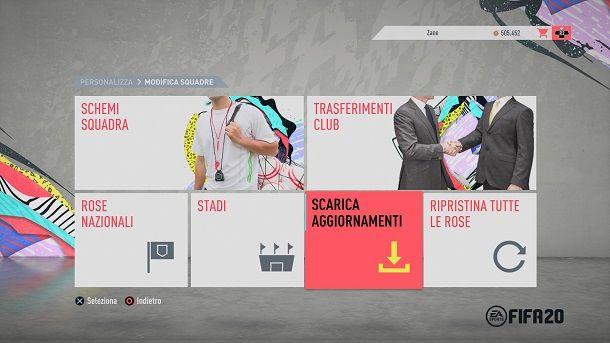 Scarica aggiornamenti FIFA 20