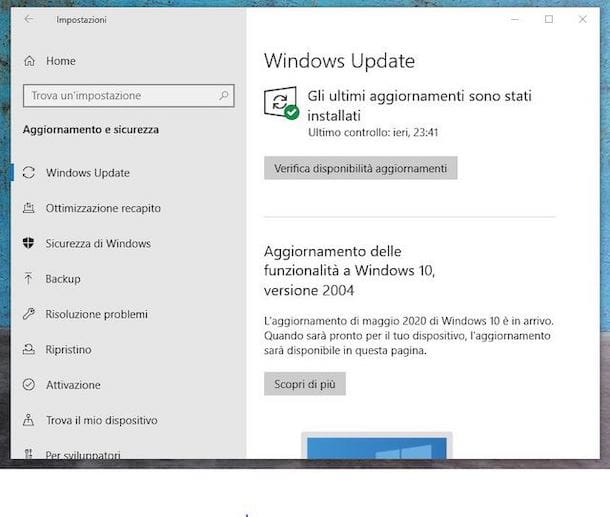 Aggiornare con Windows Update