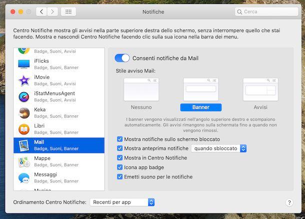 Preferenze notifiche Mail macOS