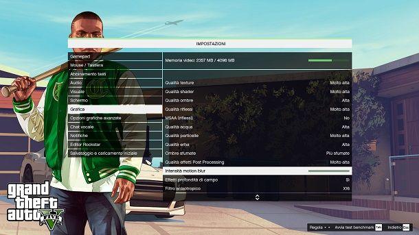 Pannello impostazioni grafiche GTA 5