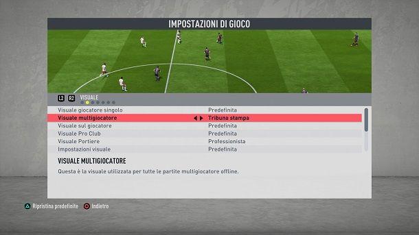 Cambiare visuale di gioco FIFA