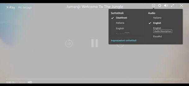 Cambiare lingua audio su Amazon Prime Video da computer