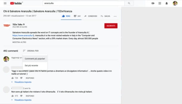 Leggere commenti YouTube PC