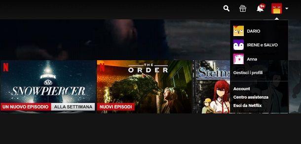 Uscire dall'account Netflix da PC