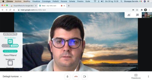 Cambiare sfondo Google Meet