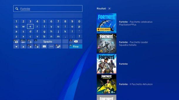 Cercare Fortnite sul PS Store