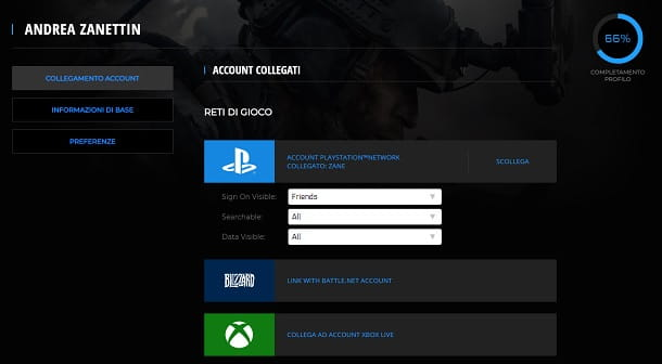 Collegamento account Warzone