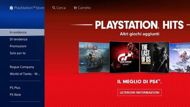 Pagina principale del PS Store di PS4