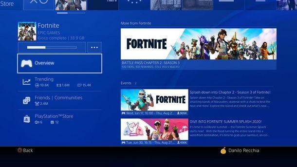 Menu di avvio di Fortnite su PS4
