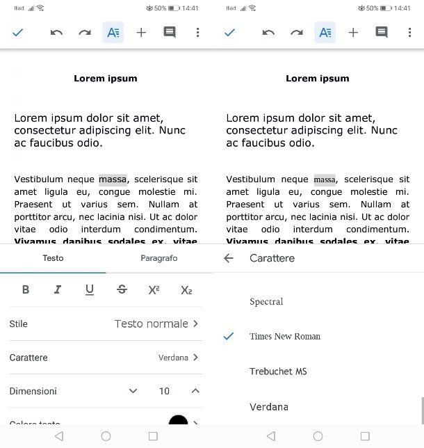 Cambiare font a una parola su Android