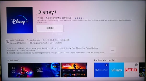 Installare app Disney+ Smart TV Samsung