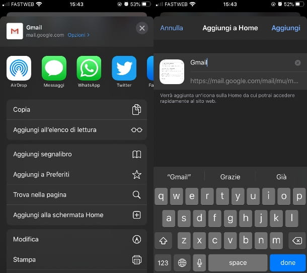 Icona Gmail su desktop con Safari su iPhone