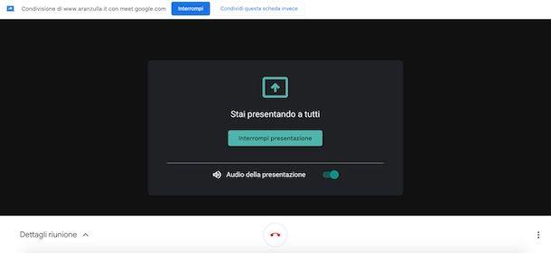 Attivare audio presentazione Meet