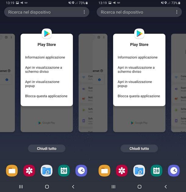 Aprire il menu contestuale per il Multischermo Samsung