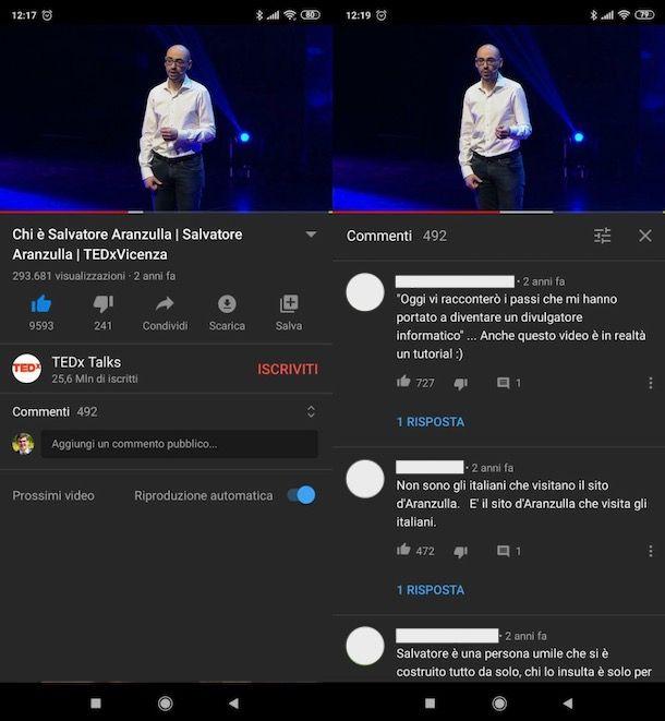 Leggere commenti YouTube Android