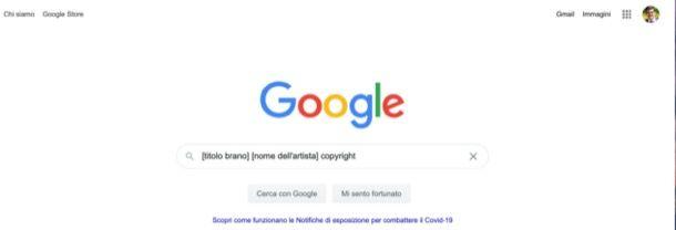 Cercare canzone su Google protetta da copyright