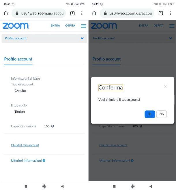 Chiudere account Zoom da Android