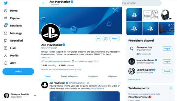 Supporto PlayStation su Twitter