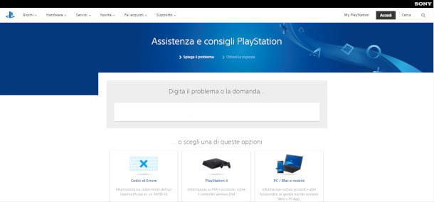 Contattare l'assistenza Sony PlayStation