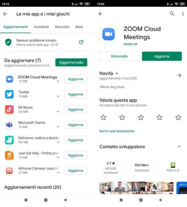 Aggiornare Zoom su Android