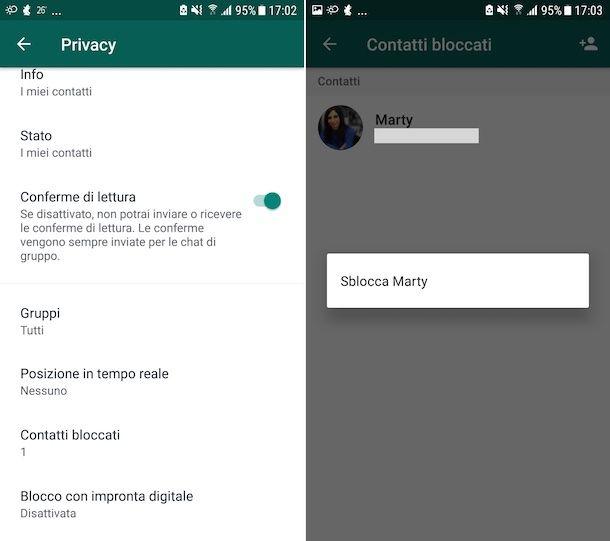 Sblocco contatti WhatsApp Android