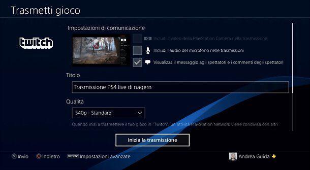 Trasmissione Twitch da PS4